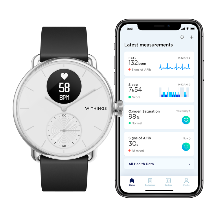 Mynd Withings Scanwatch 38mm hvítt